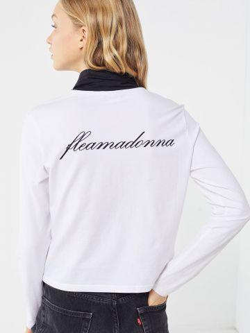 חולצת צווארון גולף עם הדפס בגב FILA X Fleamadonna UO