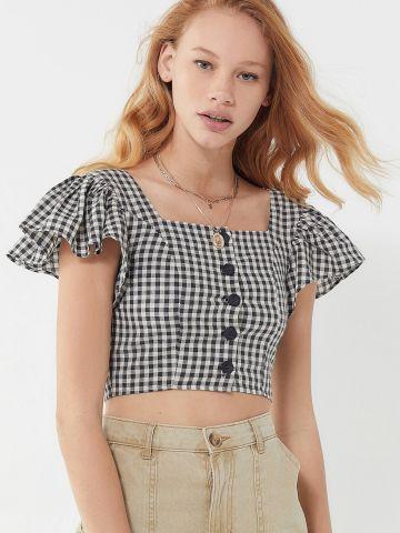 חולצת קרופ בהדפס משבצות עם שרוולי וולן UO