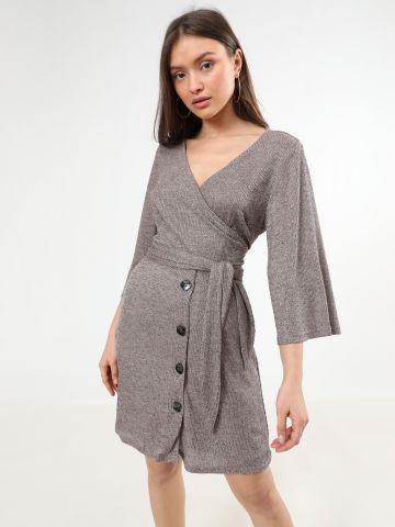 שמלת מיני ריב בסגנון מעטפת וי