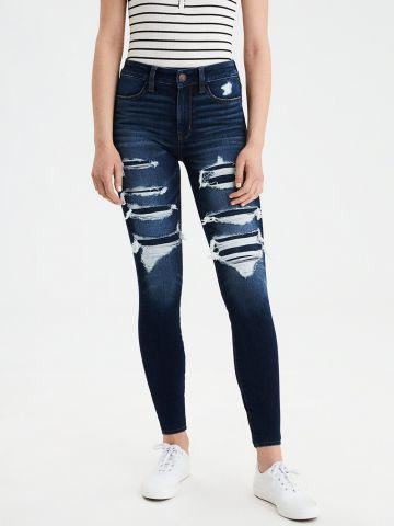 ג'ינס סקיני סטרץ' עם קרעים High Waisted Jegging של AMERICAN EAGLE