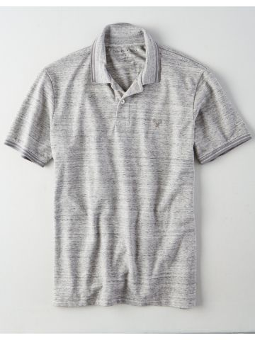 חולצת פולו מלאנז' עם רקמת לוגו / גברים