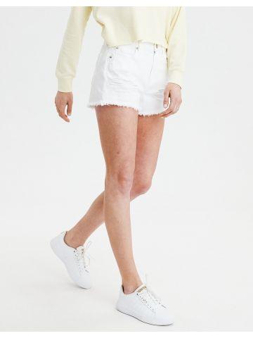 ג'ינס קצר עם קרעים וסיומת פרומה High Rise