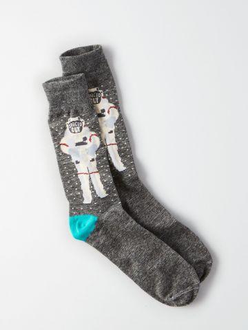 גרביים גבוהים עם הדפס אסטרונאוט / גברים