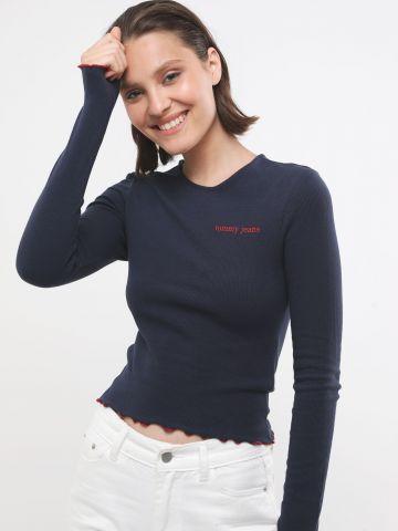 חולצת ריב עם רקמת לוגו וסיומת גלית