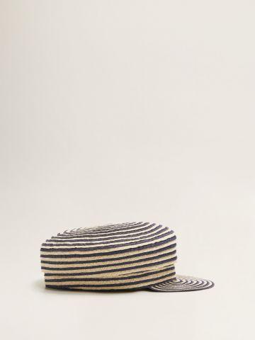 כובע קסקט מקש בדוגמת פסים