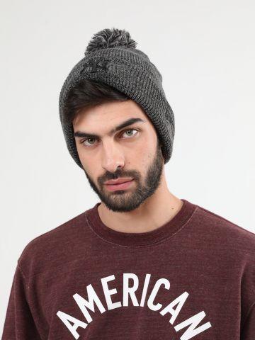 כובע גרב מלאנז' עם פונפון ורקמת יאנקיז Knit