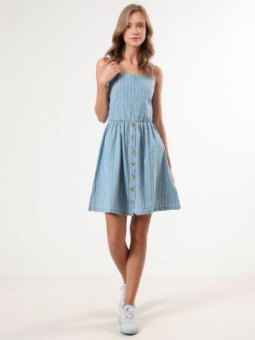שמלת מיני בהדפס פסים עם כפתורים בחזית