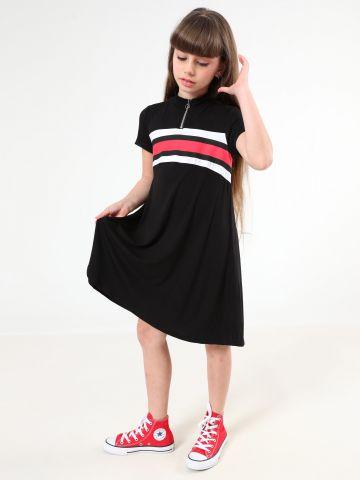 שמלת טי שירט עם הדפס פסים ורוכסן