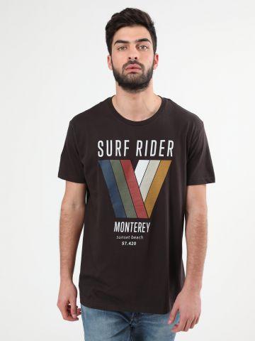 טי שירט עם הדפס צבעוני Surf Rider