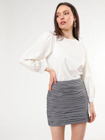 חצאית מיני עם כיווצי בד