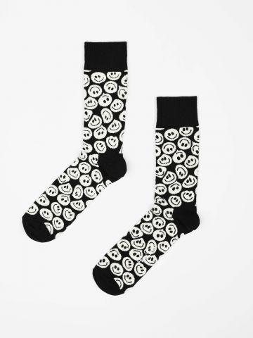 גרביים מעל הקרסול בהדפס סמיילי / גברים