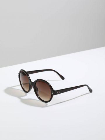 משקפי שמש עגולים עם מסגרת בסגנון מנומר Logan
