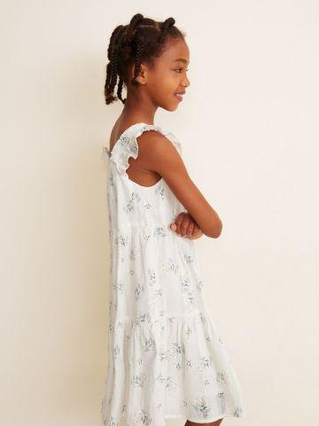 שמלת קומות בהדפס פרחים עם מלמלה