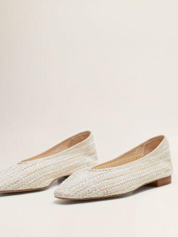 נעלי סירה קלועות בשילוב עור