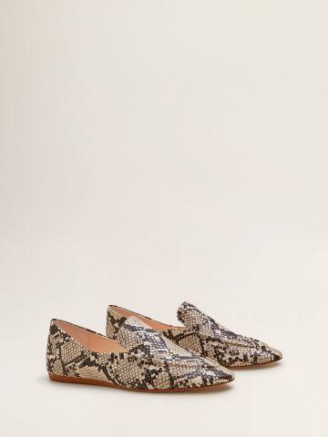 נעלי מוקסין דמוי עור נחש