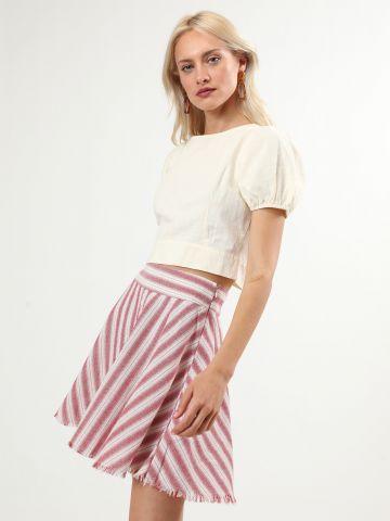 חצאית מיני פסים עם סיומת פרומה