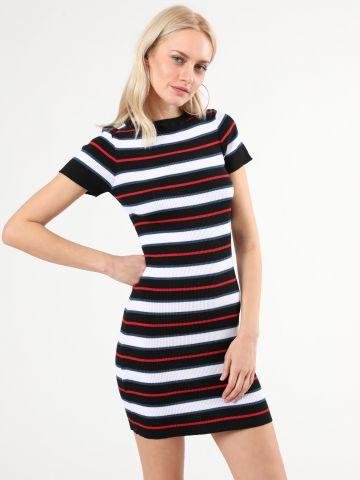 שמלת ריב מיני בהדפס פסים מולטי קולור