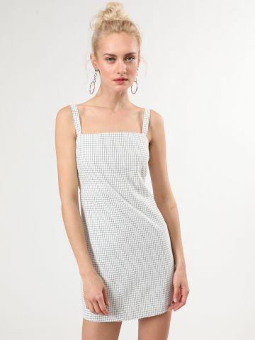 שמלת משבצות מיני עם קשירה בגב