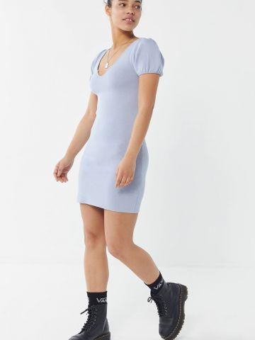 שמלת סריג מיני עם שרוולים נפוחים UO
