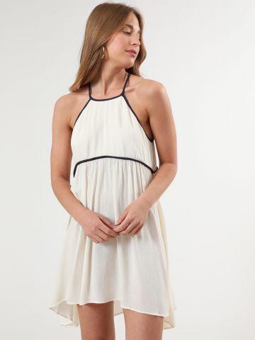 שמלת קולר מיני עם סיומת מודגשת