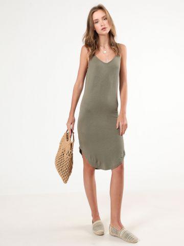 שמלת ריב מידי עם מפתח וי בגב