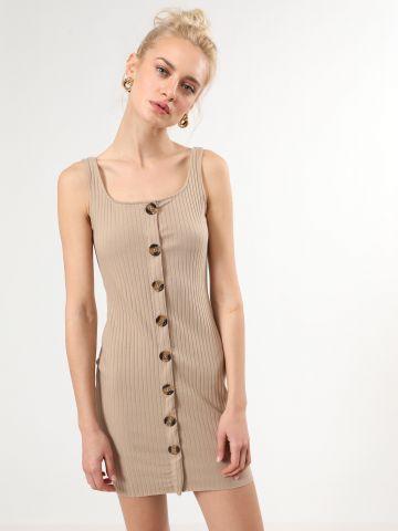 שמלת ריב מיני עם כפתורים