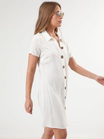 שמלה מכופתרת מיני עם כפתורי עץ