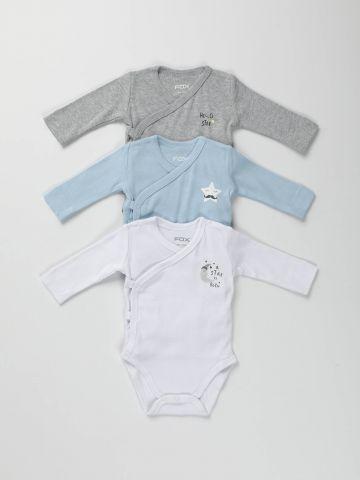 מארז 3 בגדי גוף מעטפת עם הדפס/ בייבי בנים
