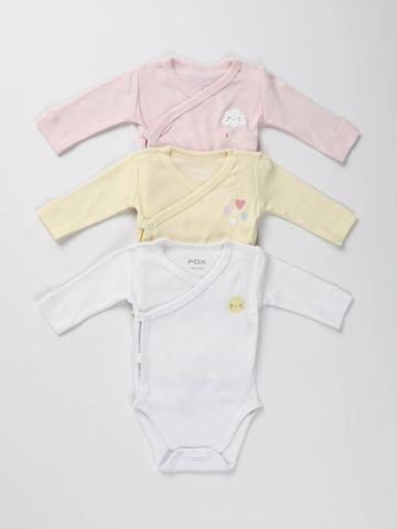 מארז 3 בגדי גוף מעטפת עם הדפסים/ בייבי בנות