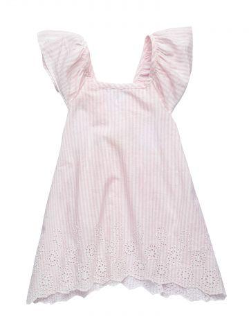 שמלה בהדפס פסים עם תחרה / בייבי בנות