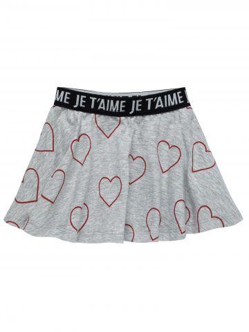 מכנסי חצאית קלוש בהדפס לבבות / בייבי בנות