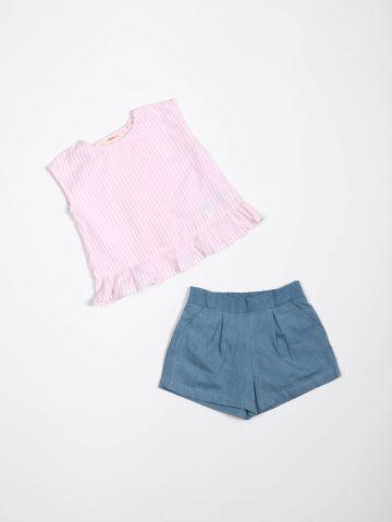 סט גופיית פפלום ומכנסיים קצרים / בייבי בנות