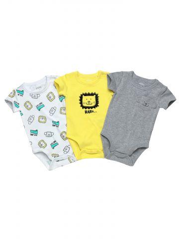 מארז 3 בגדי גוף בהדפס חיות / בייבי בנים