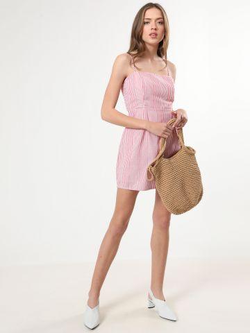 שמלת פסים מיני עם קשירה כפולה מאחור