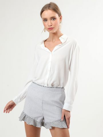 מכנסי פפלום קצרים בהדפס פסים