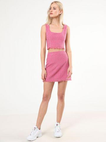 חצאית טוויד מיני עם פרנזים