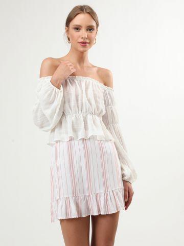 חצאית מיני פפלום בהדפס פסים