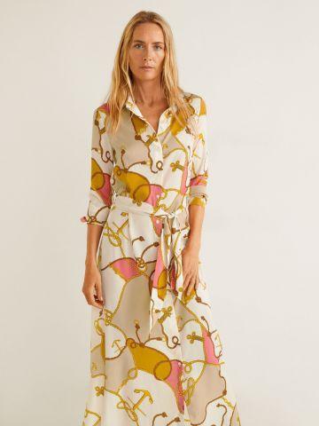 שמלת מקסי בהדפס חבלים