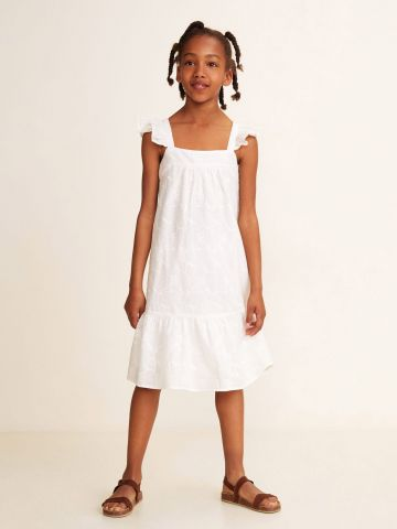שמלת רקמה עם סיומת פפלום / בנות