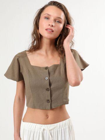 חולצת פשתן קרופ מכופתרת