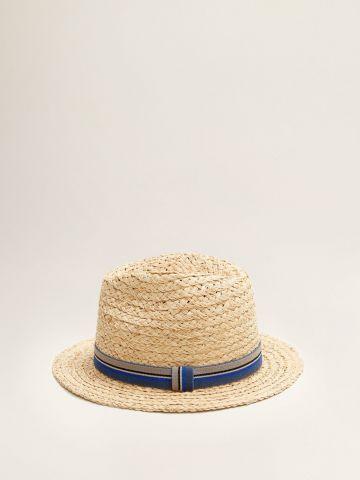 כובע קש עם רצועת פסים / גברים