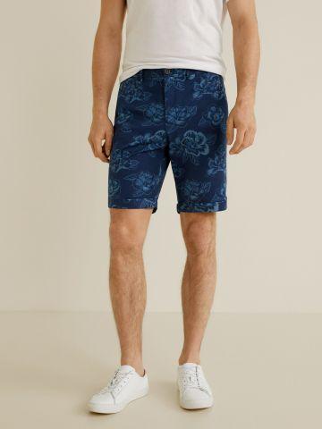 מכנסי ברמודה קצרים בהדפס עלים / גברים