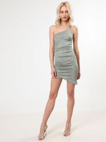 שמלת מיני וואן שולדר עם כיווצים בצד