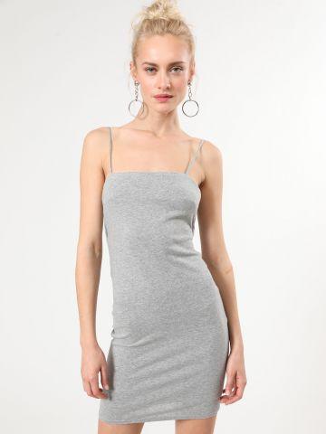 שמלת מיני מלאנז' עם רצועות קשירה בגב