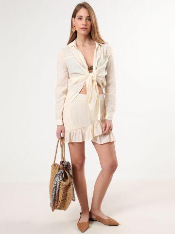 חצאית מיני בסגנון מעטפת פפלום