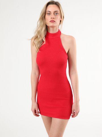 שמלת קולר מיני בטקסטורת ריב