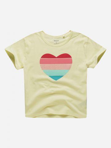 טי שירט עם הדפס לב צבעוני / בנות