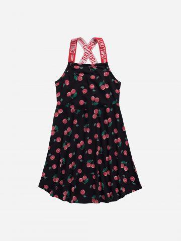 שמלה בהדפס פירות עם כתפיות אלסטיות / בנות