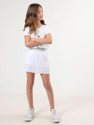 חצאית מיני פליסה עם גומי לורקס