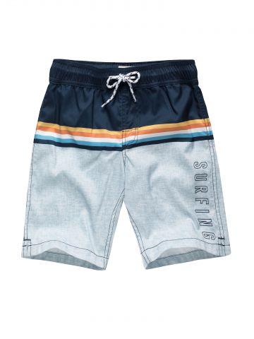 מכנסי בגד ים עם סטריפ פסים מולטי קולור / בנים